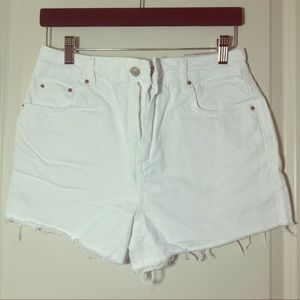 TopShop Moto Hi Rise Mom Jean cut-off shorts